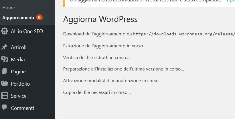 aggiornamnto di wordpress dal wp-admin