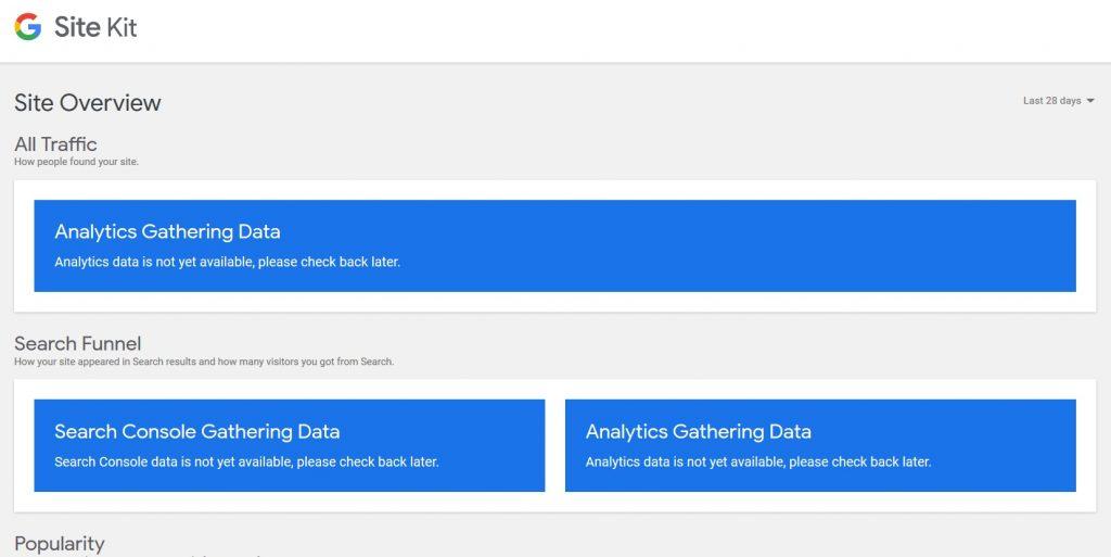 Screenshot Site Kit by Google Dashboard WordPress