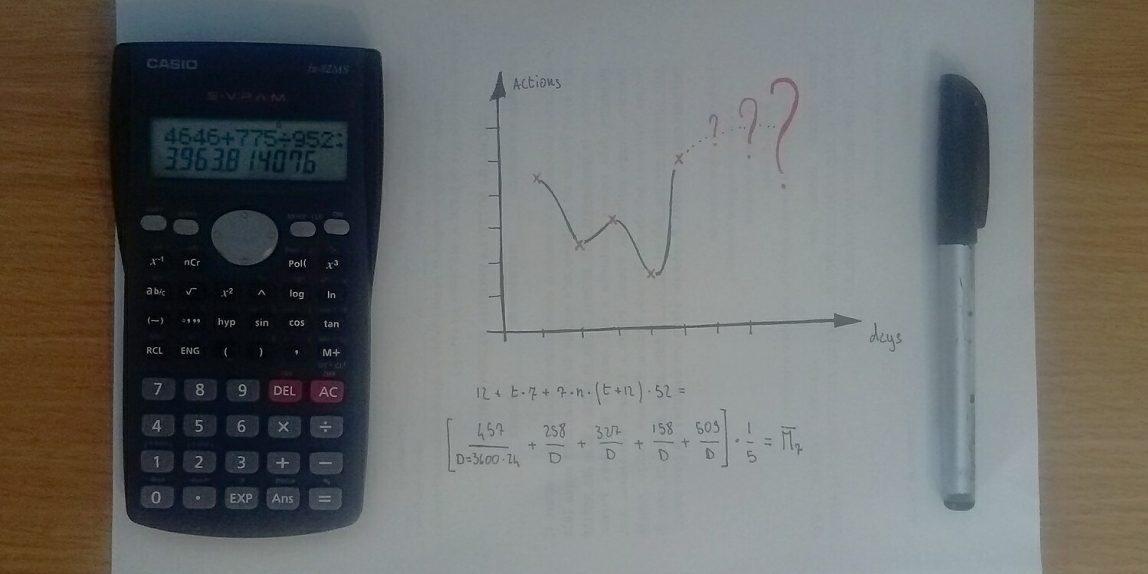 calcolatrice scientifica, foglio con grafico e calcoli, penna nera, su scrivania in legno chiaro. Evoca calcoli, numeri e analisi dei dati.