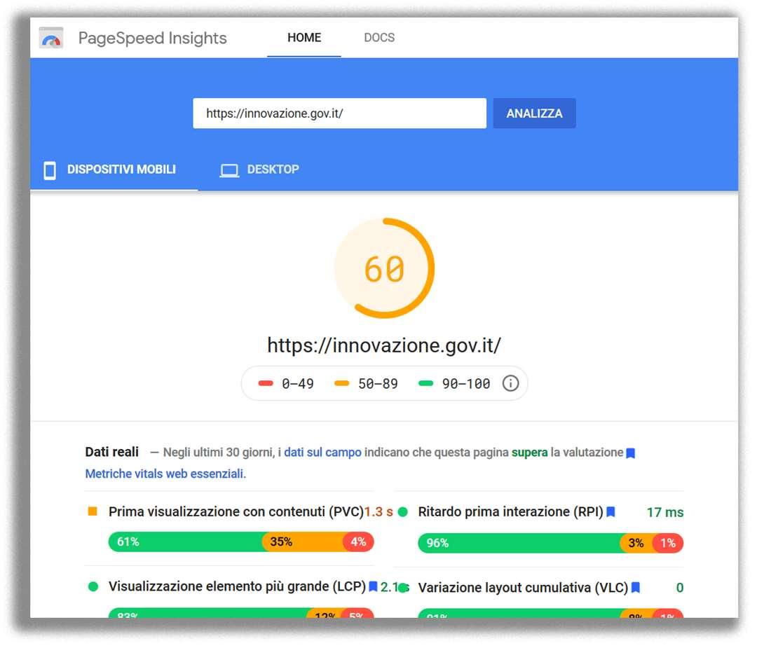 Risultati di PageSpeed Insights per la home page del Ministero dell'innovazione